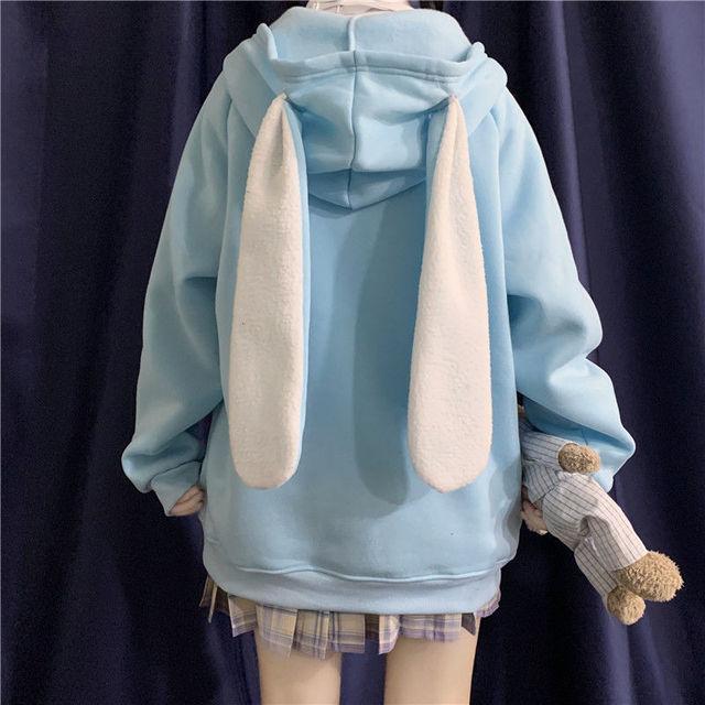 QWEEK Korean Bunny Ears Hoodies for Teen Girls Kawaii Sweatshirt Women Zip Up Hoodie Winter 2021 Fashion Long Sleeve Cute Tops 1