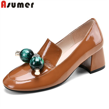 ASUMER 2020 new arrive women pumps genuine leather shoes round toe simple casual shoes ladies spring summer single shoes