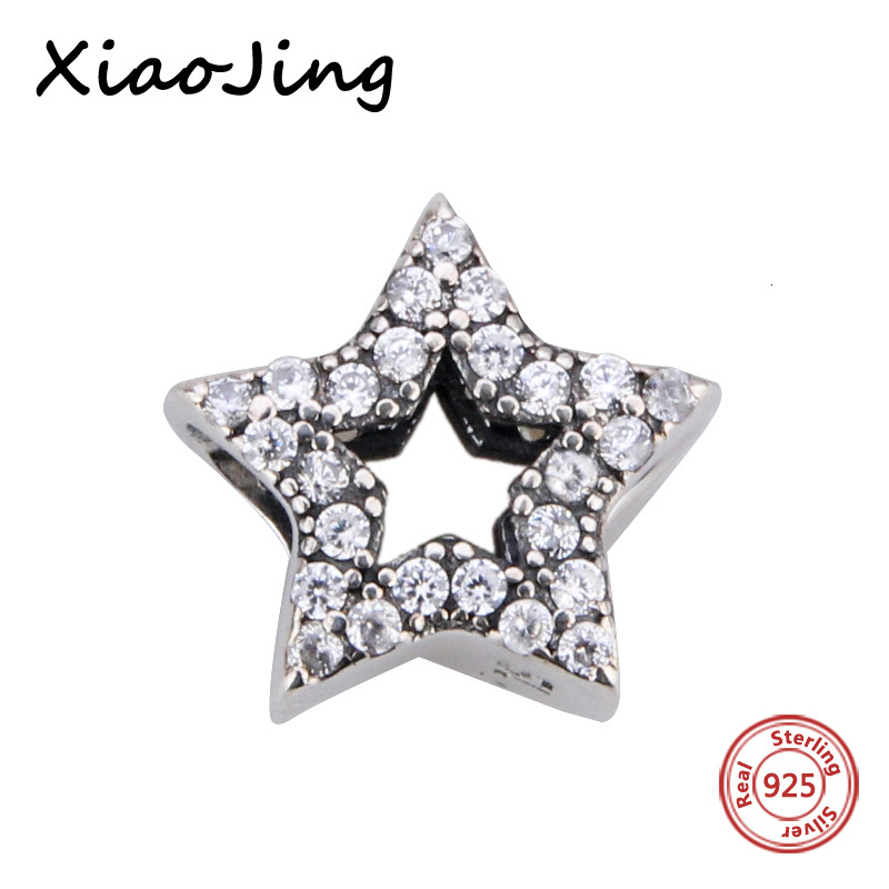 2017 Spring Vintage Clear CZ Star Charm fits Pandora DIY Bracelets & Necklace Original 925 Sterling Silver Alphabet Charms Bead
