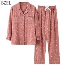 BZEL Mới Thời Trang Đồ Ngủ Nữ Cotton Dễ Thương Bộ Đồ Ngủ Bé Gái Dài Tay Áo + Quần Có Túi Chấm Bi Cổ phòng Chờ Khi Mặc