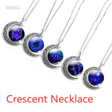 Hollow Moon Galaxy Zodiac Signs Statement Necklaces Glass Cabochon 12 Constellation  Pendant Fashion Crescent Jewelry zodiac signs glass cabochon crescent moon necklace constellation pendant tibetan silver chain necklace women fashion accessories
