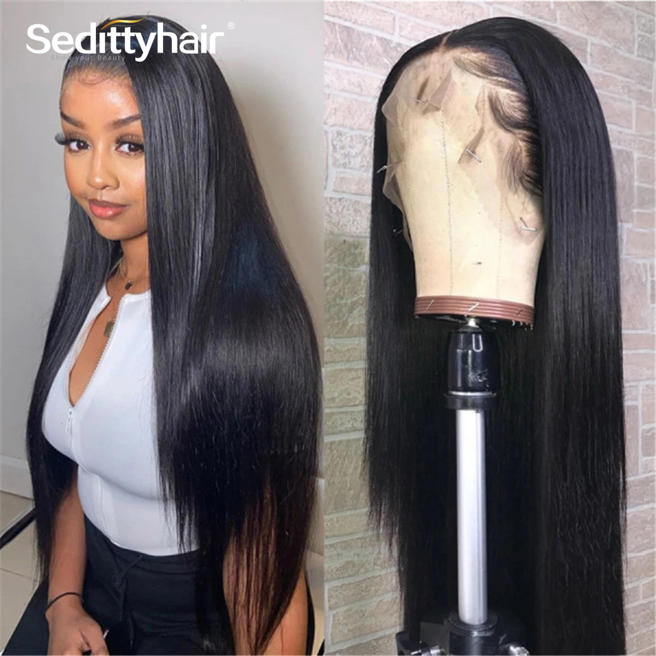 26 28 30 Inch Brazilian Straight 13x4 Lace Front Human Hair Wigs Glueless Long Lace Frontal wig for Black Woman Pre Plucked Full