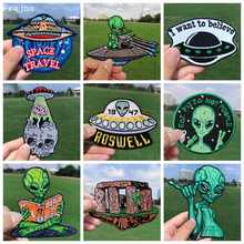 Prajña Ufo Alien Patches Geborduurde Patches Voor Kleding Strepen Planet Stickers Doek Applique Iron On Patches Op Kleding Diy(China)