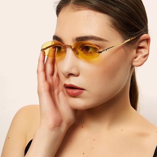 Retro Oval Sunglasses Women Frameless Gray Red Clear Lens Rimless Sun Glasses For Women Uv400 10
