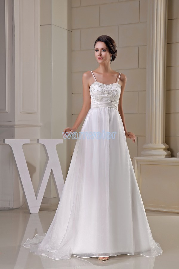 Free Shipping New Design Sweetheart Fashion A-line Brides Long Custom Beading White Organza Wedding Dress 2015 Bridal Gown