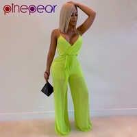 PinePear fluorescencyjny zielony Mesh Spaghetti kombinezon z ramiączkami Neon luźne 2 sztuka zestaw kobiety stroje lato Trend 2020 Dropshipping
