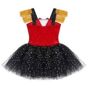 Image 4 - Crianças meninas dia das bruxas ringmaster circo traje borla lantejoulas malha tutu ballet vestido ginástica collant desempenho dança wear