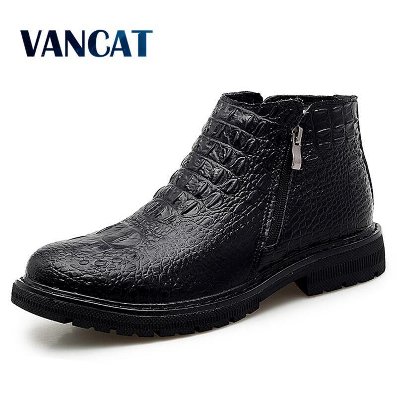 High Quality Leather Business Men's Boots Autumn Winter Warm  Fur Snow Boots Crocodile Pattern Men Ankle  Boots Men's Shoes