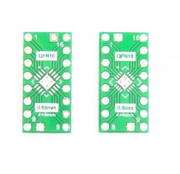 5 PCS QFN16 0.65mm 0.5mm to DIP16 adapter PCB board converter double-sided wireless electronic compatible board double sided glass fiber prototyping pcb universal board 12 piece pack