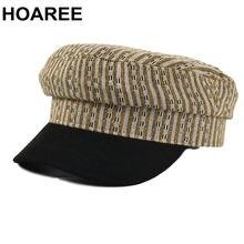 Hoaree желтая винтажная военная шапка женская черная полосатая