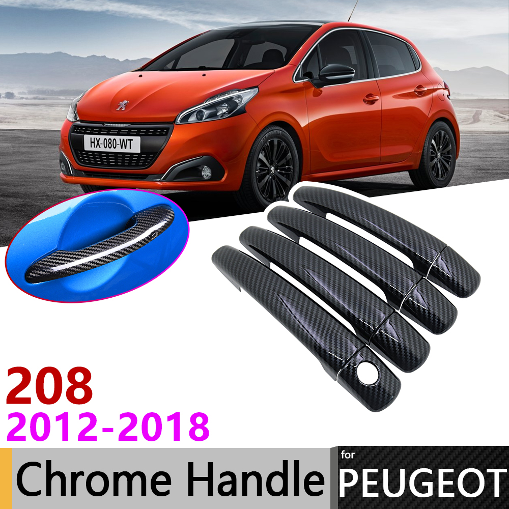 Black Carbon Fiber Exterior <font><b>Door</b></font> <font><b>Handle</b></font> Cover for <font><b>Peugeot</b></font> <font><b>208</b></font> 2012~2018 2015 2016 2017 Car Accessories Stickers Trim Set Chrome image