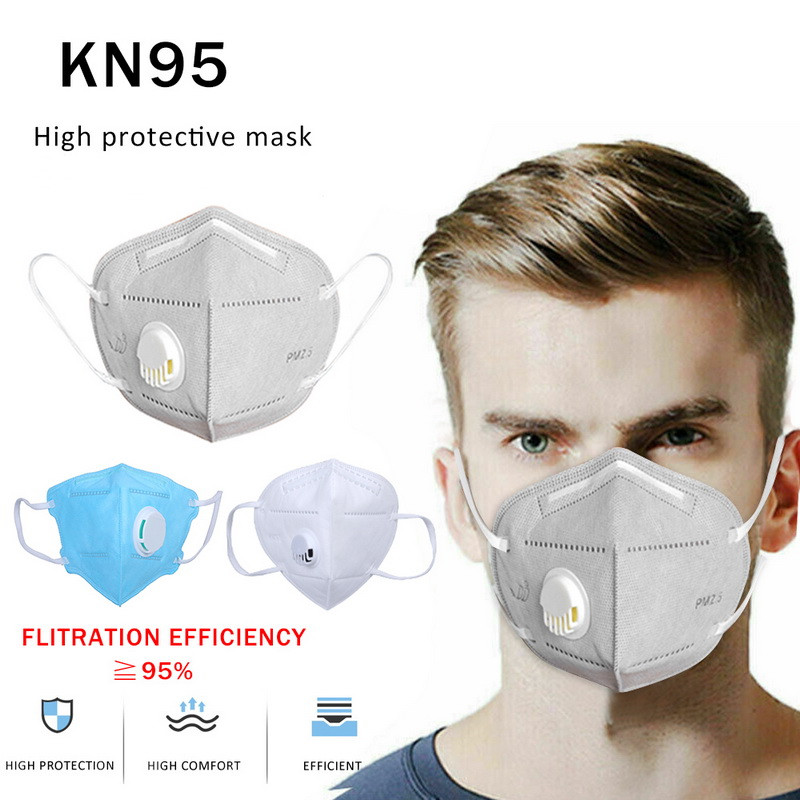 10 PCS Face Mask KN95 Adult Vertical Folding N95 Mask Nonwoven Valved Dust Mask PM 2.5 Respirator Mouth Mask Ffp2