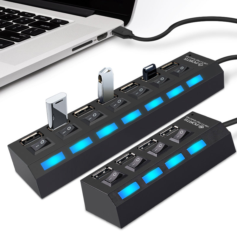 USB Hub 2.0 Multi USB Port 4/7 Ports Hub USB High Speed Hab With On/off Switch USB Splitter For PC Computer Accessories