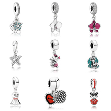 Summer Colletion 100% 925 Sterling Silver Sea Star Dangle charms Fit Pandora Bracelet Beads For Jewerly Making Gift