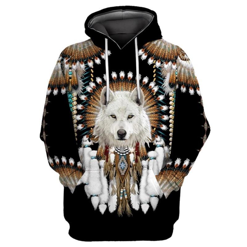 Native Indian Wolf 3D Printed Hoodies men Harajuku Fashion Hooded Sweatshirt Autumn Unisex Casual hoodie sudadera hombre YDA15