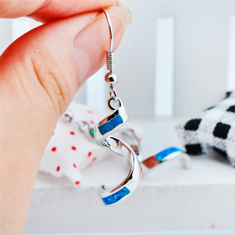 Cool Female Blue Opal Stone Dangle Earrings Charm Silver Color Drop Earrings For Women Simple Birdal Spiral Wedding Earrings