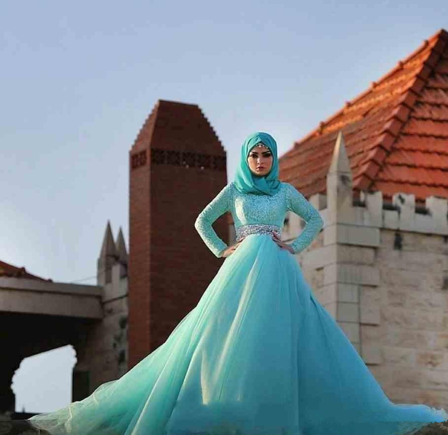 Charming Long Sleeve High Neck Muslim 2018 Blue A-line Lace Bridal Gown Crystal Robe De Mariage Mother Of The Bride Dresses