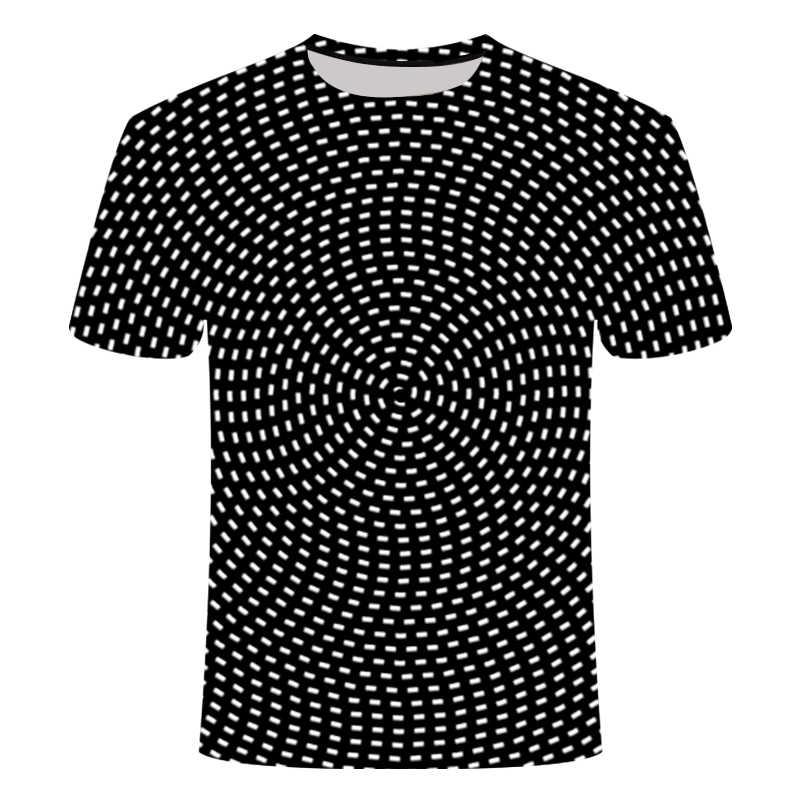 2020 Nieuwe 3D effect t-shirt zwart en wit t-shirt draaien tshirt mannen vrouwen top tees sportkleding Elastische breathability 6XL