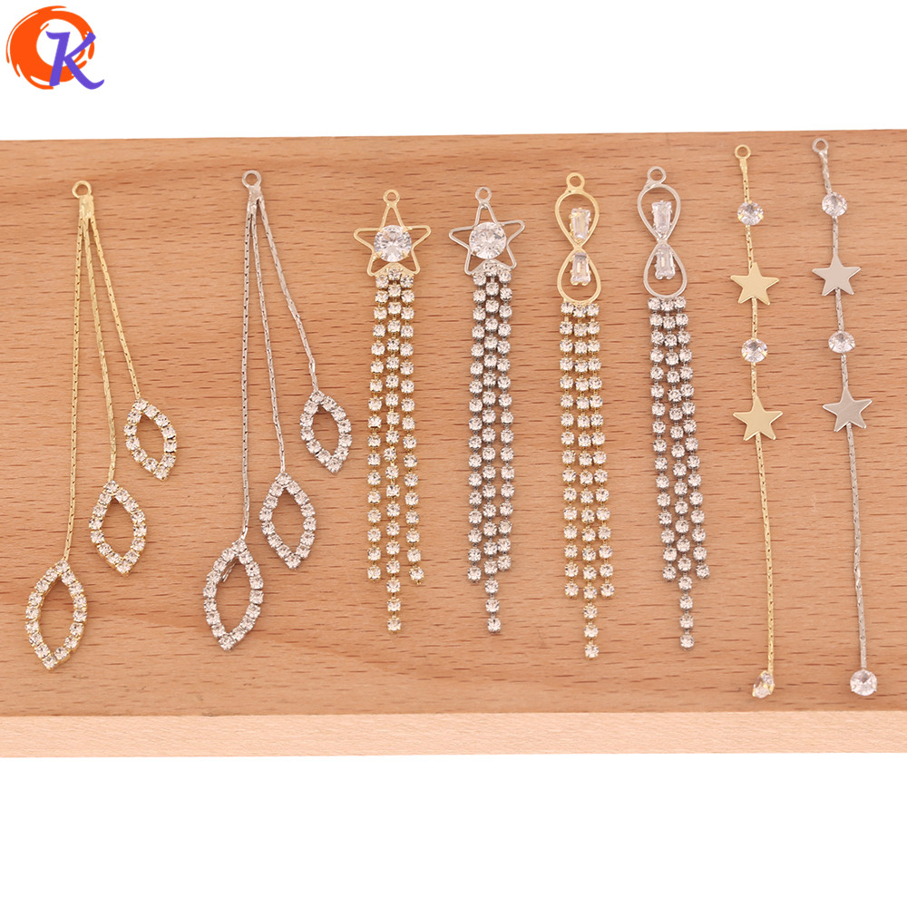 Cordial Design 50Pcs Earring Findings/DIY Charms/Jewelry Accessories/Rhinestone Claw Chain/Connectors For Earrings/Hand Made