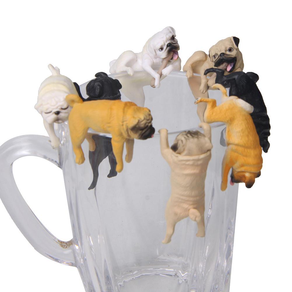 Realistic Mini Pug Dog Figurine Hanging On Cup Rim DIY Fairy Garden Accessory New