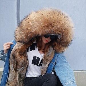 Image 2 - 2020 kış yeni tavşan kürk kalınlaşma astar ceket ceket moda gevşek tilki kürk yaka ayrılabilir astar ceket kadın sıcak