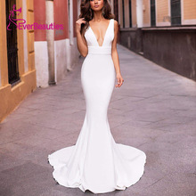 Robe De Mariee Wedding Dresses 2020 Bride Dress Vestido De Noiva Wedding White Satin Mermaid V Neck Mariage свадебные платья