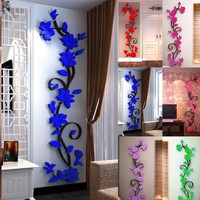 NEW 1PC Wall Stickers Decal Home Decor DIY Vase Flower Crystal Arcylic 3D Stickers For Kids Room 24X80cm Drop Shipping