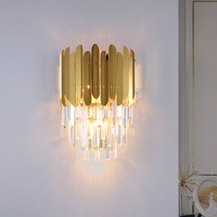 Fss modern gold crystal bedside wall light wall sconce led lamp luxury wall lights fixtures for bedroom wall lamps Living room