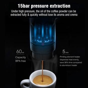 Cafetera portátil para coche, calienta el agua con 12v, compatibles cápsulas de Dolce Gusto, Nespresso, máquina de café en polvo H4 3