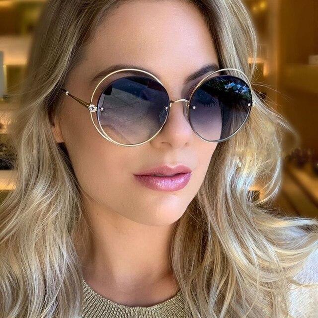 Женские солнцезащитные очки круглый кошачий глаз