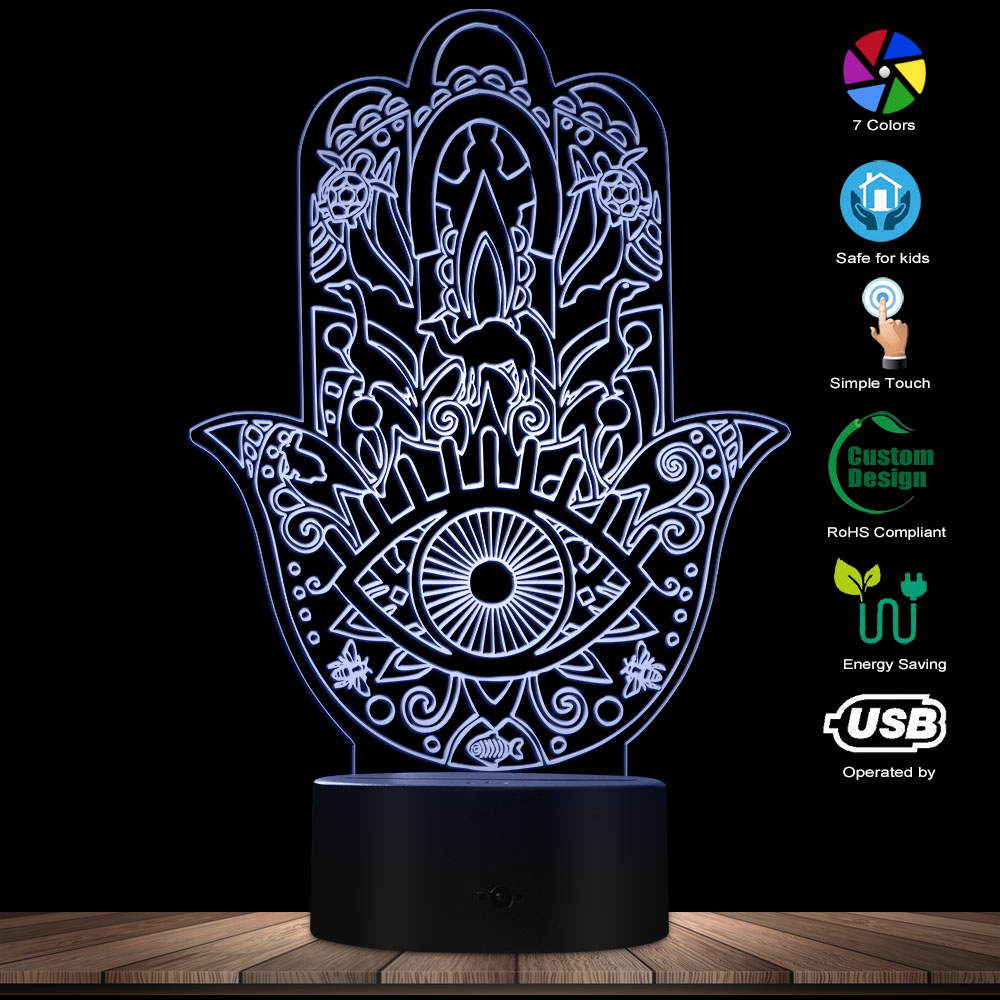 Hamsa With Boho Pattern Novelty Lighting Buddhas Hand Mandala Hamsa Symbol Optical Illusion Light Buddhism Decorative Desk Lamp