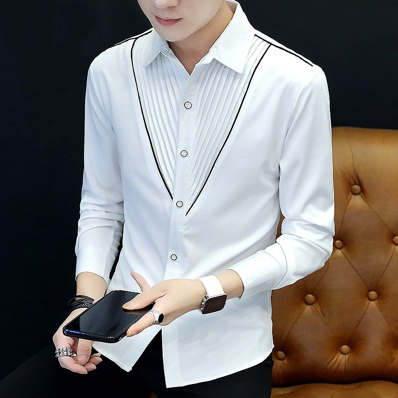 2020 Men's Spring Lapel Striped Pleated Shirt Youth New Style Cool Slim Fashion Shirt