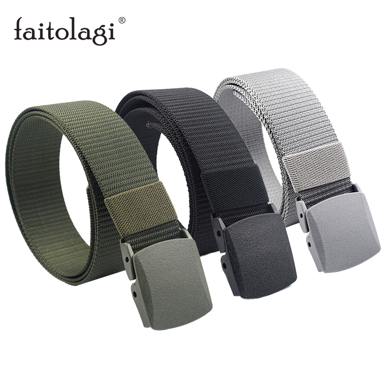 Black Tactical Army Men Belts Brown Green Canvas Women Fabric Belts With Plastic Buckle Cinturones Para Hombre Ceinture Femme