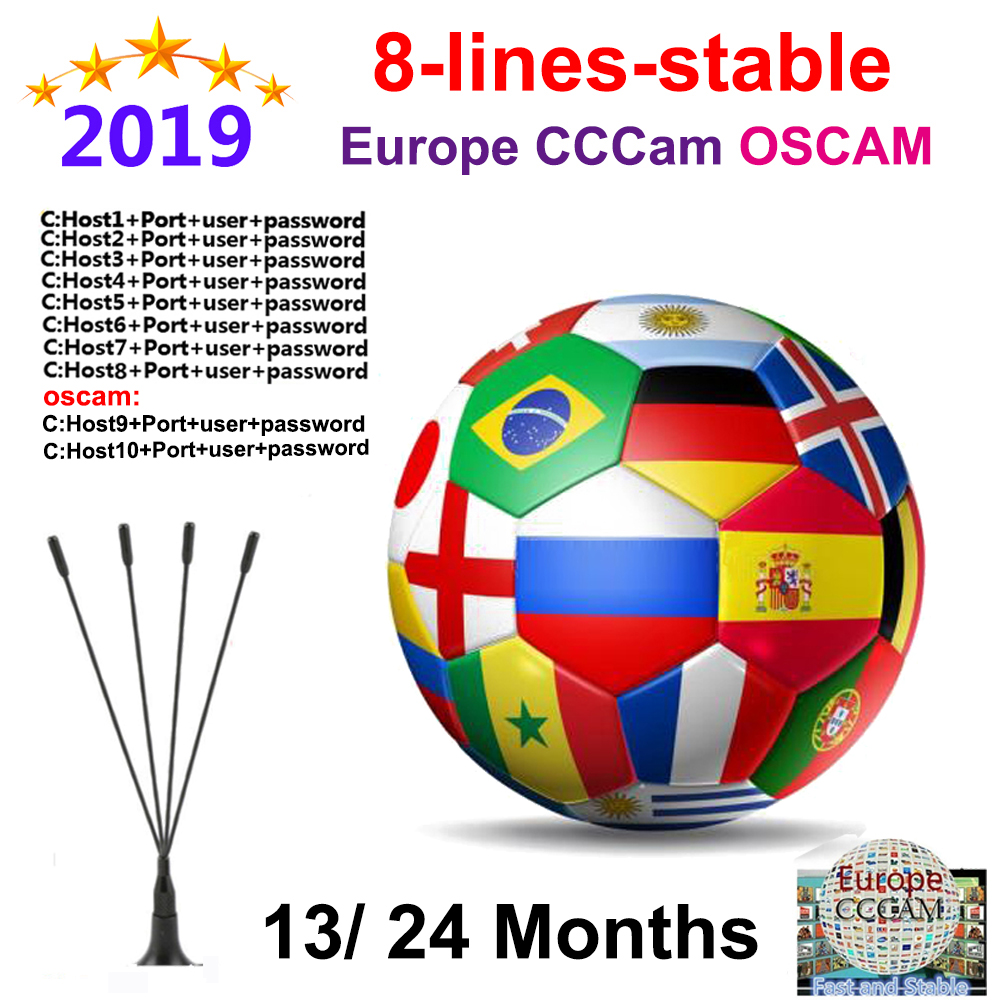 Receptor Satelite Cccam Server HD OSCAM Germany Cline For 1 Year Europe Cccam Spain Italy Poland Portugal DVB S2 CCAM 2 Year