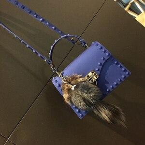 Image 2 - Rivets Women Handbags Candy Color Jelly Women Messenger Bags Luxury Designer PVC Womens Shoulder Bags Females Handbag 2020 New