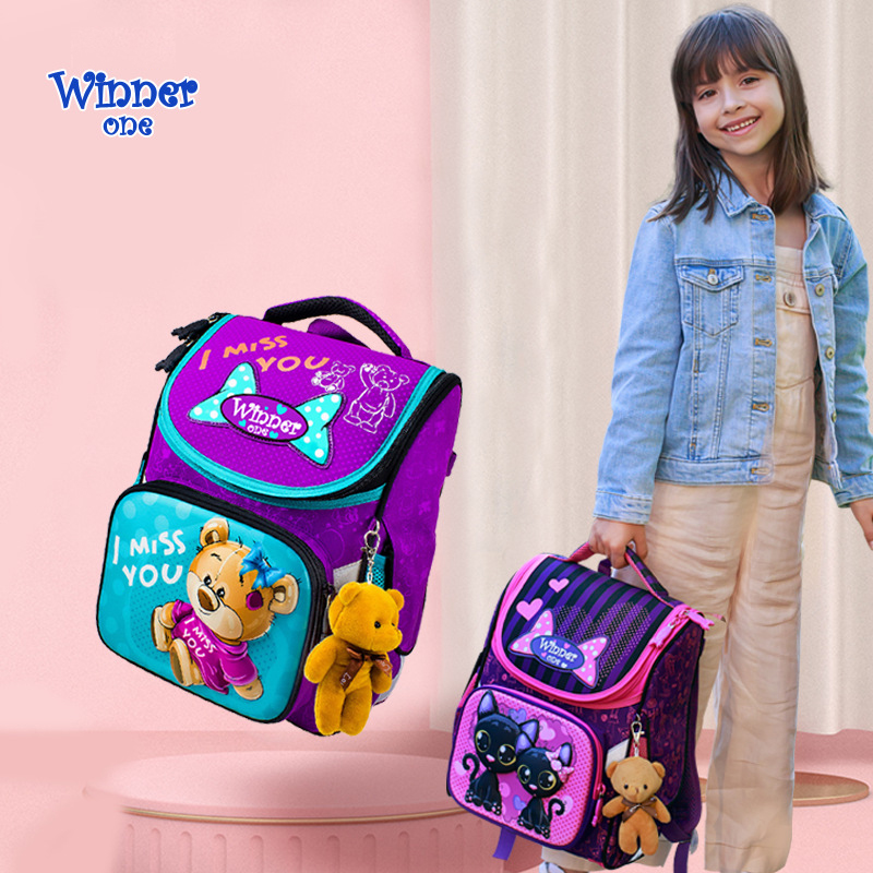 Winner One School Bags For Girls Boys New 3D Flower Pattern Cartoon Backpack Children Orthopedic Backpacks Primary Mochila