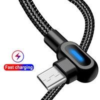 90 grad 2M Schnelle Lade Micro USB Kabel Typ C USB Für Samsung A7 S9 S10 Xiaomi MI 5 MI 9 MI 8 Android Microusb Ladegerät Kabel