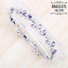 Bracelet à bijoux en argent 925 pour femmes, 18CM, violet, blanc, Zircon cubique, boîte cadeau gratuite