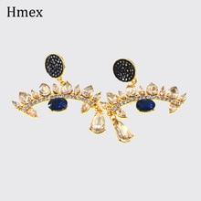 купить New Fashion Design Crystal Eye Shape Drop Earrings For Women Personality Rhinestone Statement Earrings Female Jewelry дешево