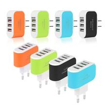 Универсальное сетевое зарядное устройство с тремя USB-портами, адаптер питания переменного тока, вилка 3,1 А со светодиодной подсветкой для ...