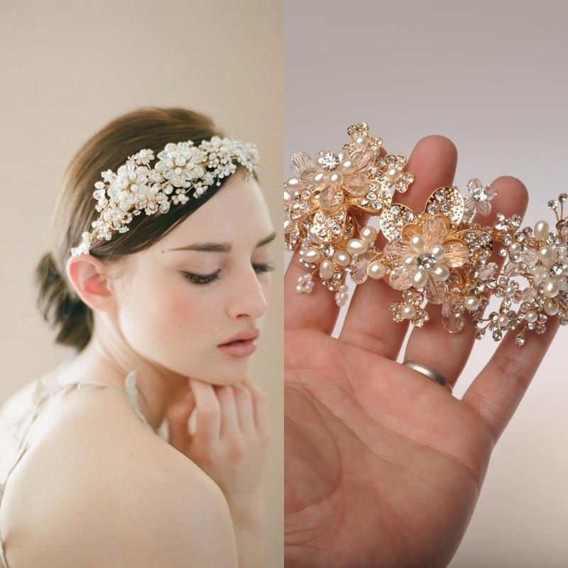 Hand Made Golden Pearl Craft Bridal Metal Headpiece Tiara Wedding Accessories