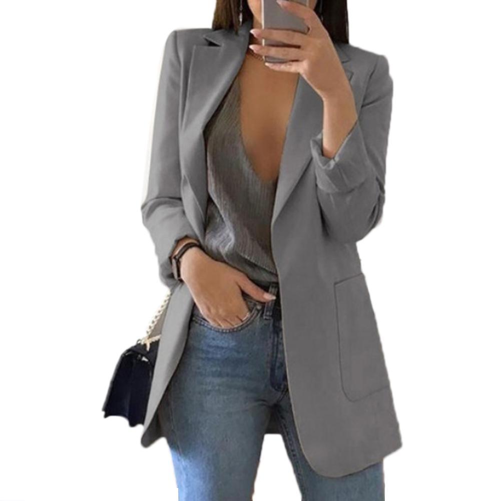 Fashion Women Office Suit Solid Color No Button Lapel  Blazer Coat Woman Blazer