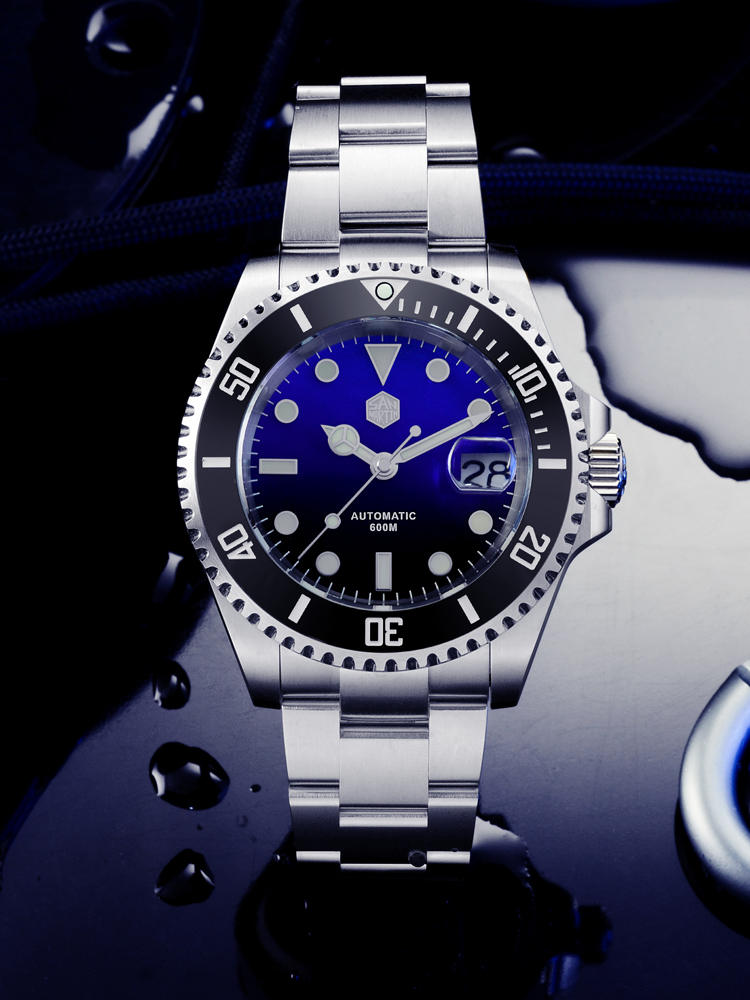 Ceramic Bezel Mechanical-Watch Diver-Water Ghost Date San Martin Sapphire Lume Automatic