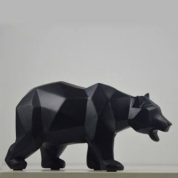 Estatua artística de oso de resina geométrica moderna, decoración artesanal, escultura de Animal salvaje, regalo, decoración del hogar, accesorios de decoración