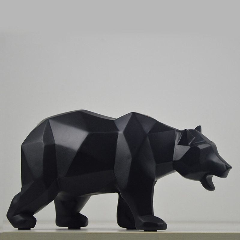 Modern Geometric Resin Bear Statue Art Craft Decor Wildlife Animal Sculpture Gift Home Decoration Furnishing Accessories