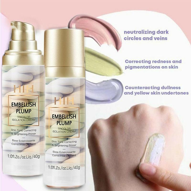 Full Coverage Base Brighten Base Rainbow Tricolor Isolation Makeup De Maquillaje Skin Primer Lasting Maquillage Make Up TSLM1 1