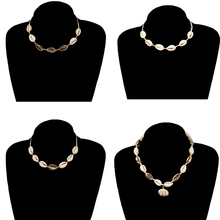 4 Pcs/ Set Simple String Beads Rope Chain Necklace Adjustable Natural Shell Clavicle Pendant Jewelry