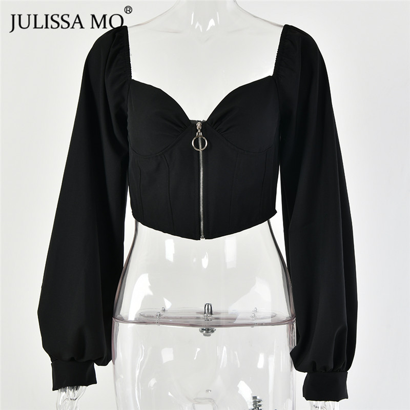 JULISSA MO Black Sexy V Neck Zipper Crop Top Women Puff Sleeve Backless Tank Top Elegant Female Christmas Party Cropped Tops