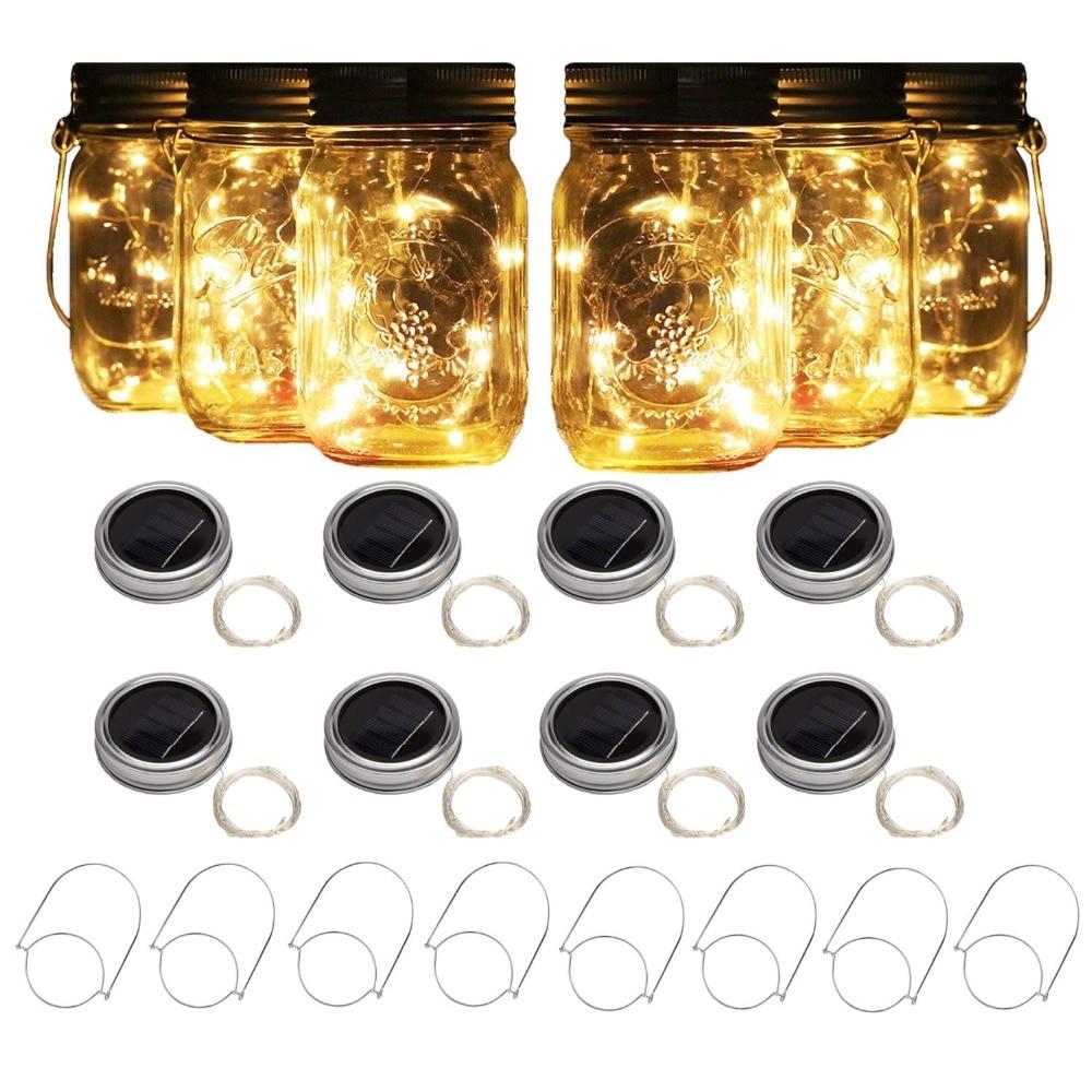 8 Pack Solar Mason Jar Lights With 8 Handles,10 Led String Fairy Firefly Lights Lids Insert For Regular Mouth Jars Garden Decor