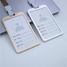 Aluminum Alloy Business Work Card ID Badge Lanyard Holder Hot Vertical Newly